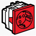Legrand Mosaic 077214 Модуль розетки 2К+3 с механической блокировкой, красный
